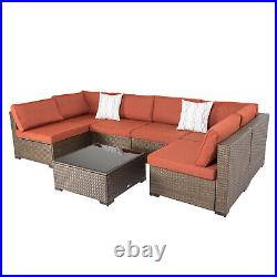 7PCS Patio Rattan Wicker Sectional Couch Garden Lawn Armrest Sofa Set with Table