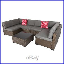 7PC Outdoor Furniture Couch Wicker Rattan Cushioned Sofa Sectional Set With Pillow