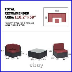 7PC Outdoor Patio Furniture Sofa Set PE Rattan Wicker Cushioned Sectional Couch