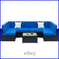 7PC Outdoor Patio Sectional Furniture PE Wicker Rattan Sofa Set Deck Couch