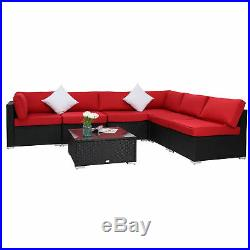 7PC Outdoor Patio Sofa Set Sectional Furniture Wicker Rattan WithCushion Red New