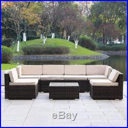 7PC Outdoor Wicker Rattan Sectional Patio Furniture Sofa Set Brown with Cushion
