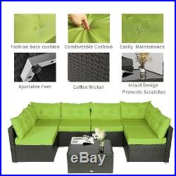 7 PCS Outdoor Patio Garden Furniture Sectional Sofa Set Rattan with Table Green