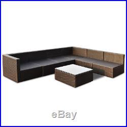 7 PCS Patio Rattan Wicker Furniture Set Sectional Seat Cushioned Garden Black