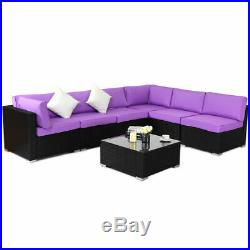 7 PCS Rattan Wicker Patio Set Outdoor Sectional Sofa Furniture Purple Cushion