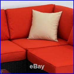 7 PC Indoor Patio Rattan Wicker Sofa Set Orange Cushion Sectional Garden Outdoor