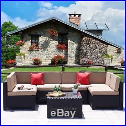 7 PC Outdoor Patio Furniture Rattan Wicker Sectional Sofa Couch Set