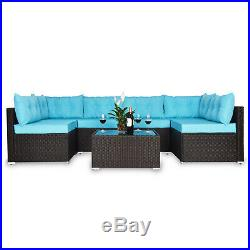 7 PC Outdoor Patio Garden Furniture Rattan Sofa Sets with Cushions