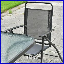 8PCS Outdoor Patio Folding Chairs and Table Furniture Set with Umbrella Backyard