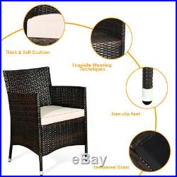 8PCS Outdoor Rattan Patio Furniture Set Cushioned Sofa Chair Coffee Table Brown