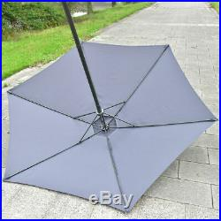 8PCS Patio Garden Set Furniture 6 Folding Chairs Table with Umbrella Gray