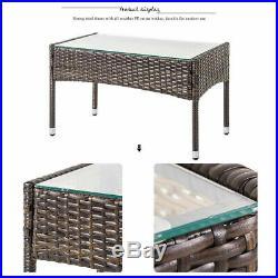 8PCS Rattan Patio Furniture Set Cushioned Sofa Chair Coffee Table Garden