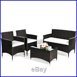 8 PCS Patio Garden Rattan Furniture Set Coffee Table Cushioned Sofa Brown