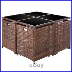 9PC Patio Garden Rattan Wicker Sofa Set Furniture Cushioned WithOttoman Mix Brown