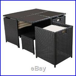 9 PCS Black Patio Garden Rattan Wicker Sofa Set Furniture Cushioned WithOttoman