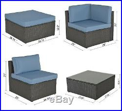 9 Pcs Rattan Sofa Wicker Patio Furniture Outdoor Sectional Sofa Cushioned Seat
