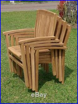 9-Piece Outdoor Teak Dining Set 83 Rectangle Table, 8 Stacking Arm Chairs Wave