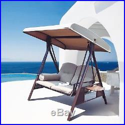 Abba Patio 2-Person Outdoor Porch Swing Hammock with Steel Frame and Adjustab
