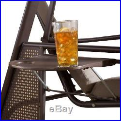 Abba Patio 2 Seat Steel Frame Outdoor Porch Swing Hammock with Adjustable Canopy