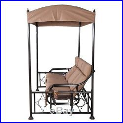 Abba Patio 3 Seat Steel Frame Outdoor Porch Swing Hammock with Adjustable Canopy