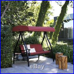 Abba Patio Outdoor Red 3-Seat Porch Swing with Adjustable Polyester Canopy