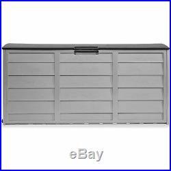 All-Weather Deck Box Storage with Wheel UV Pool Shed Bin Backyard Porch 63 Gallons