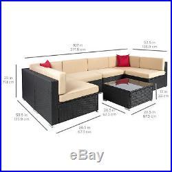 BCP 7pc Outdoor Patio Garden Wicker Furniture Rattan Sofa Set Sectional Black