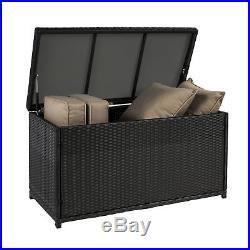 BCP Wicker Storage Deck Box Black