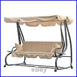 Backyard Swing Bed Garden Lawn Yard Porch Patio Outdoor Tan Furniture
