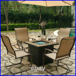 Bali Outdoor All-Weather Spring Motion Teslin Patio Dining Chairs Set of 2 PCS