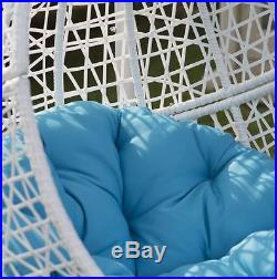Best Outdoor Furniture Swing Chair With Stand Hanging Egg Patio White Wicker New