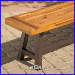Bowman Outdoor Sandblack Finish Acacia Wood & Rustic Metal Bench