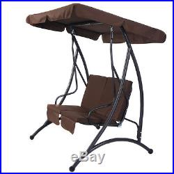 Brown 2 Person Canopy Swing Chair Patio Hammock Seat Cushioned Furniture Steel
