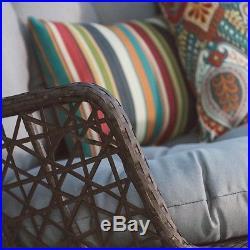 Brown Front Porch Swing Hanging Brown Wicker Egg Chair Indoor Outdoor Loveseat