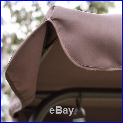 Brown Outdoor Patio Swing Canopy Awning Yard Furniture Hammock Steel 2 Person