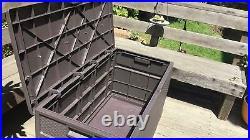 Brown Outdoor Storage Deck Box Chest Bin Garden 120-Gal Container Waterproof