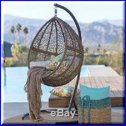 Brilliant Brown Resin Wicker Hanging Chair Teardrop Egg Swing Stand Ocoug Best Dining Table And Chair Ideas Images Ocougorg