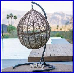 Brown Resin Wicker Hanging Chair Teardrop Egg Swing Stand Set Patio Furniture