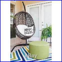 Brown Wicker Resin Hanging Egg Tufted Cushion Patio Swing Home Outdoor Furniture