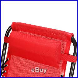 Case Of 2 Red Zero Gravity Chairs Patio Yard Lounge Beach Outdoor Folding Chairs