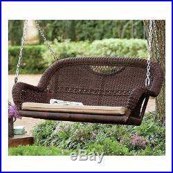 Chain Patio Swing Outdoor Woven Wicker Hang Bench Garden Seat Lounge Furniture