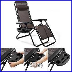 Chair Lawn Black Cup Holder For Zero Gravity Patio Lounge Pool Beach Side Tray