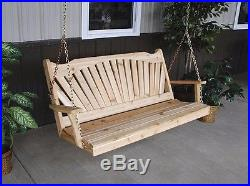 Classic Cedar 5 Foot Fanback Porch Swing Natural Unfinished 5 ft Swing