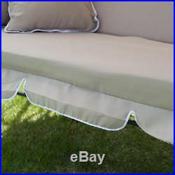 Coral Coast Lazy Caye 3 Person All-Weather Swing Bed with Toss Pillows