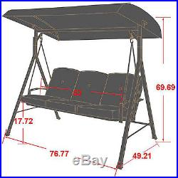 Cushioned Porch Swing With Canopy Cover Seats 3 Red Fabric Patio Outdoor Garden