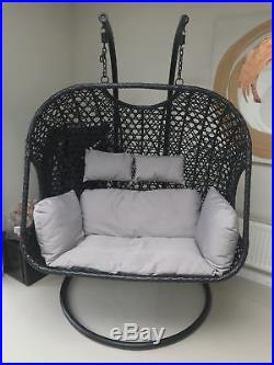 Double Black Rattan Hanging Swing Chair Patio Garden Egg Chair Hammock Outdoo