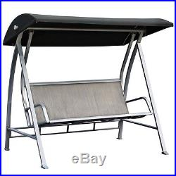 Remarkable Durable Steel Frame 3 Seat Sling Canopy Swing In Grey For Pabps2019 Chair Design Images Pabps2019Com