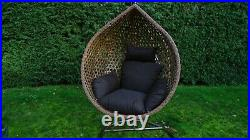 Egg Chair Swing Chair Brown Rattan With Cushion & Cover