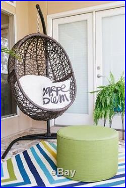 Egg Nest Swing Wicker Chair With Stand Front Porch Backyard Patio Outdoor Hang