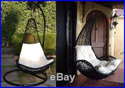 Egg Shape Wicker Rattan Swing Bed Chair Weaving Hanging Hammock- Black/Khaki